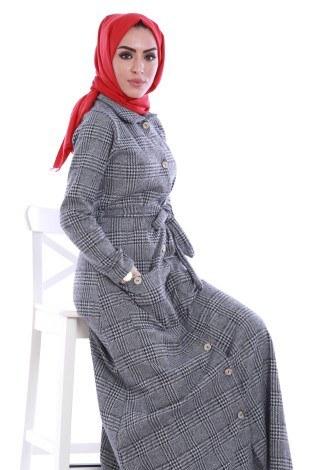 - Boydan Tahta Düğmeli Elbise 6615-01 (1)