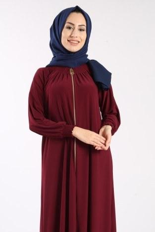 Fermuarlı Ferace Elbise 1138-02 - Thumbnail