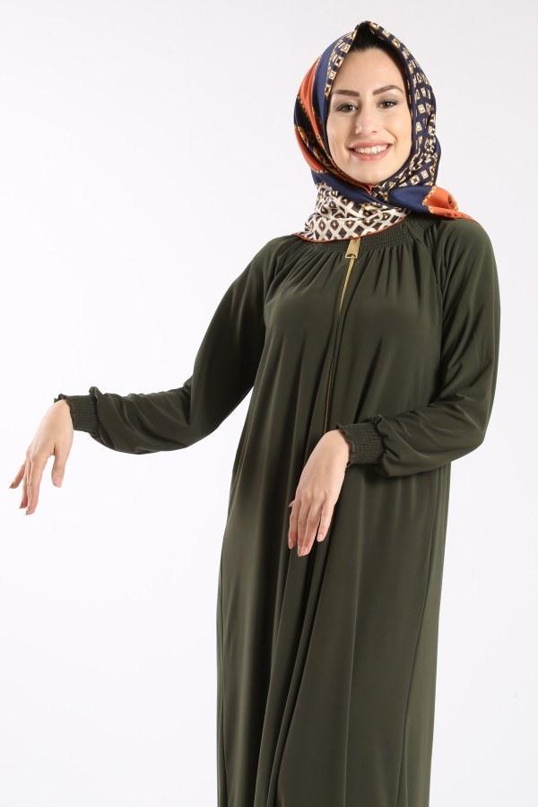 Fermuarlı Ferace Elbise 1138-03