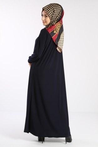 Fermuarlı Ferace Elbise 1138-04 - Thumbnail