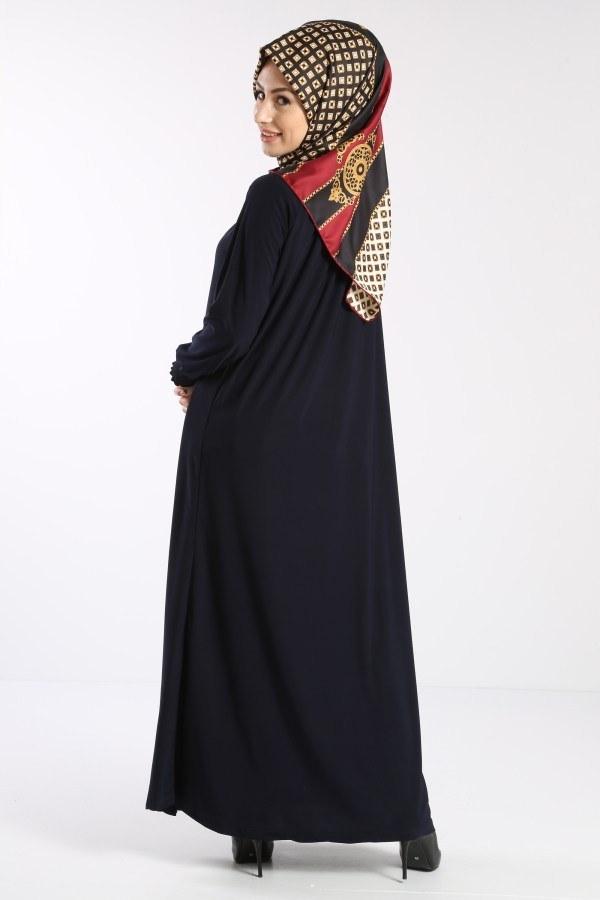 Fermuarlı Ferace Elbise 1138-04