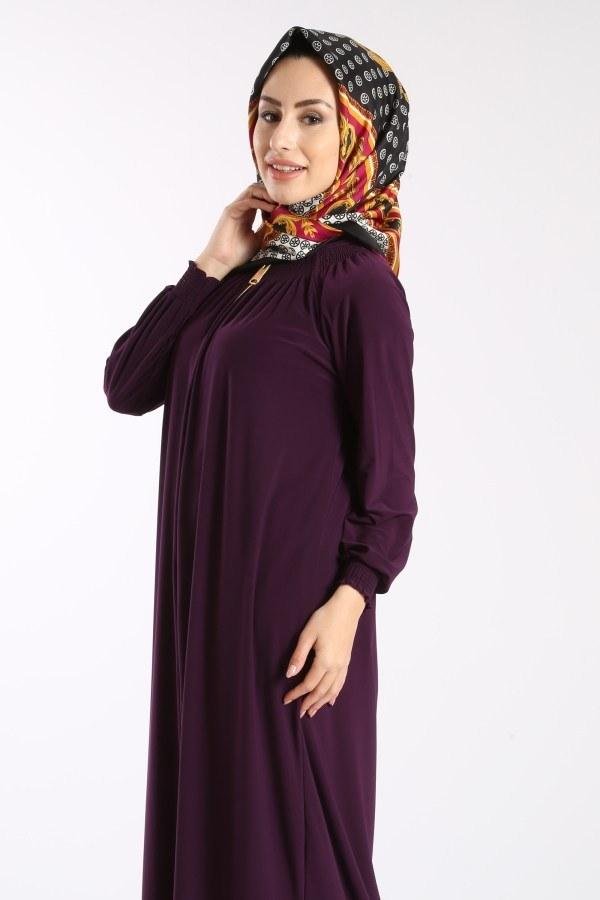 Fermuarlı Ferace Elbise 1138-05