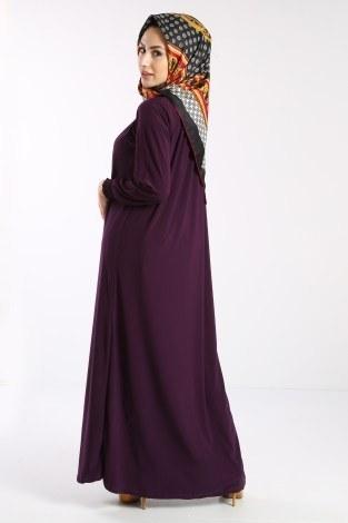 Fermuarlı Ferace Elbise 1138-05 - Thumbnail