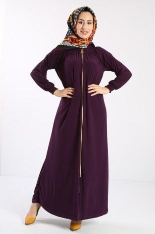 - Fermuarlı Ferace Elbise 1138-05