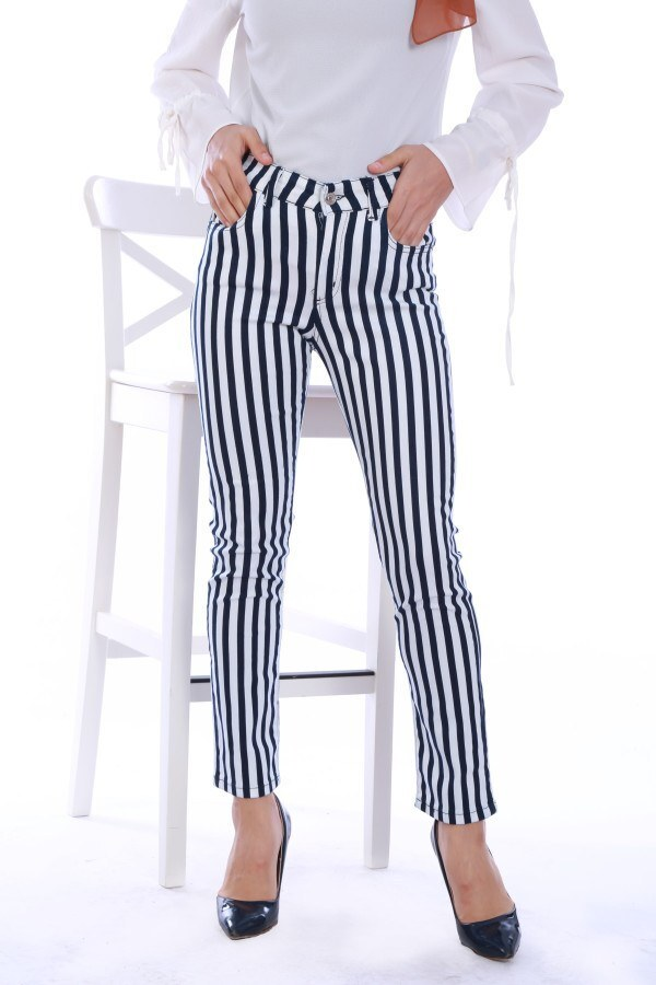 - Likralı Çizgili Pantolon 7856