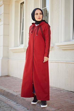 Fermuarlı Spor Ferace Elbise 1819-05 Bordo - Thumbnail