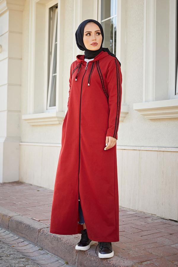 Fermuarlı Spor Ferace Elbise 1819-05 Bordo
