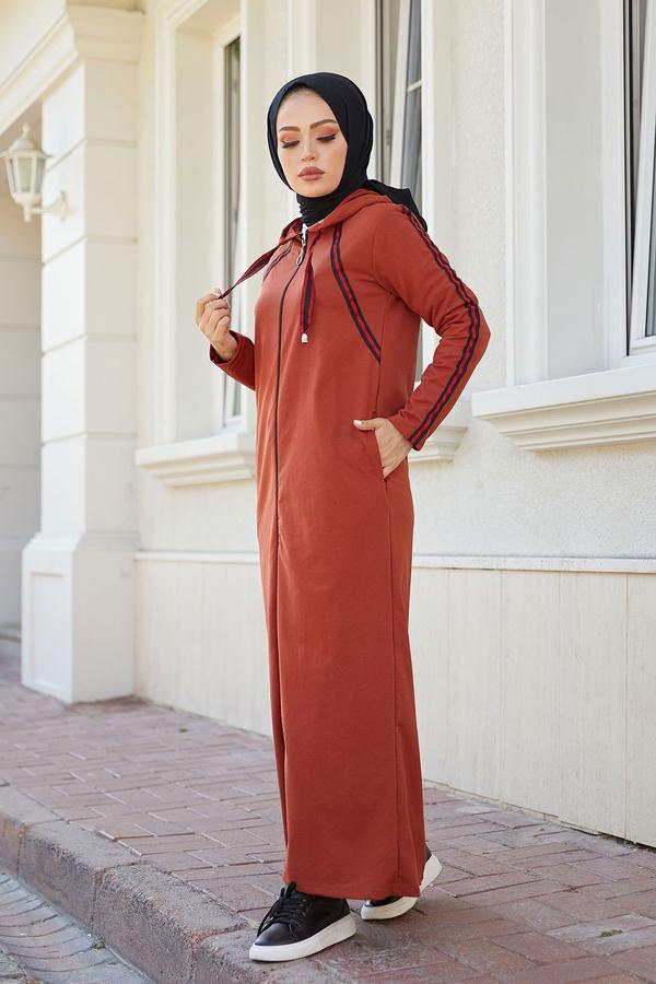 Fermuarlı Spor Ferace Elbise 1819-16 Kiremit