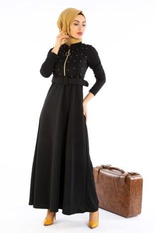 - Fernuar Detaylı İncili Elbise 01674-01
