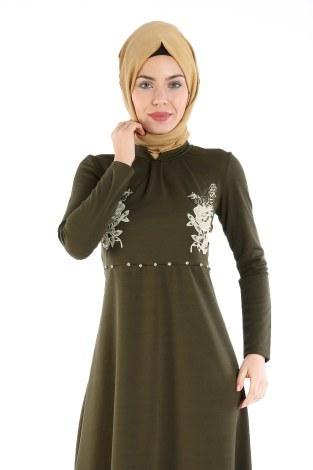 - Gül Nakışlı Taş Detaylı Elbise 1673-01 (1)