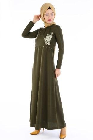 - Gül Nakışlı Taş Detaylı Elbise 1673-01