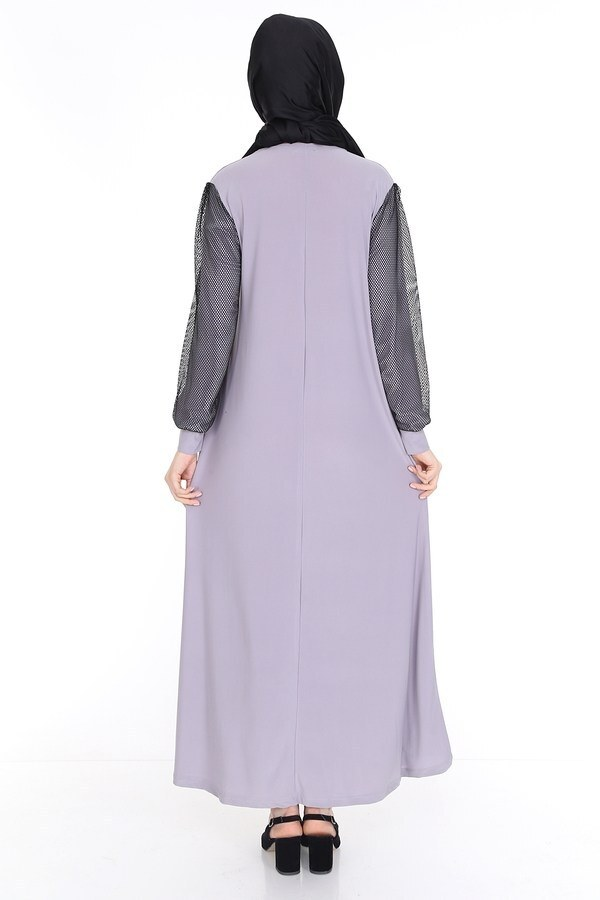File Detaylı Elbise Ferace 4581-6 Gri