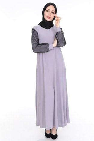 File Detaylı Elbise Ferace 4581-6 Gri - Thumbnail
