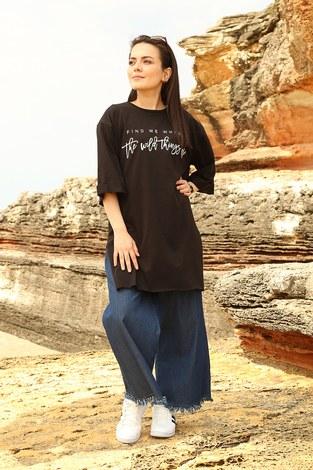 - Fınd Me Where Baskılı T-shirt 2552-1 Siyah