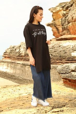 - Fınd Me Where Baskılı T-shirt 2552-1 Siyah (1)