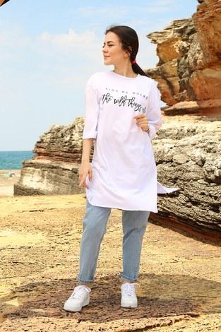 - Fınd Me Where Baskılı T-shirt 2552-2 Beyaz