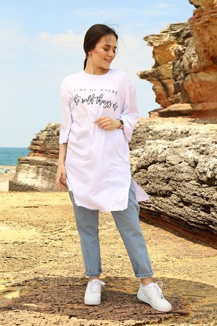 - Fınd Me Where Baskılı T-shirt 2552-2 Beyaz (1)
