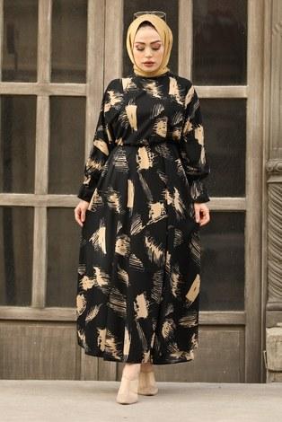- Fırça Desen Büzgülü Elbise 17695-1 Siyah