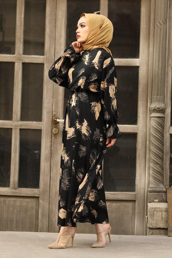 Fırça Desen Büzgülü Elbise 17695-1 Siyah
