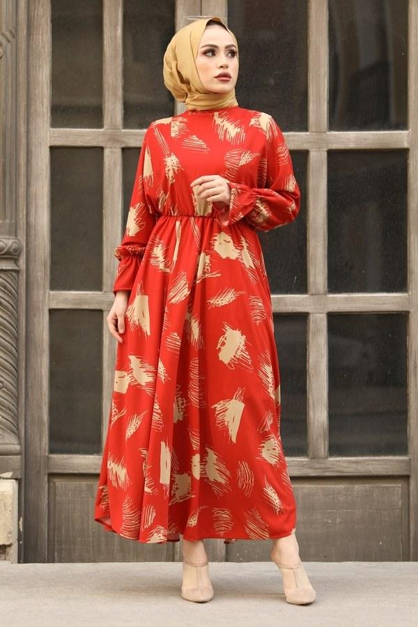 Fırça Desen Büzgülü Elbise 17695-2 Turuncu