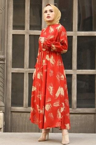 Fırça Desen Büzgülü Elbise 17695-2 Turuncu - Thumbnail