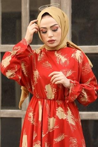 - Fırça Desen Büzgülü Elbise 17695-2 Turuncu (1)