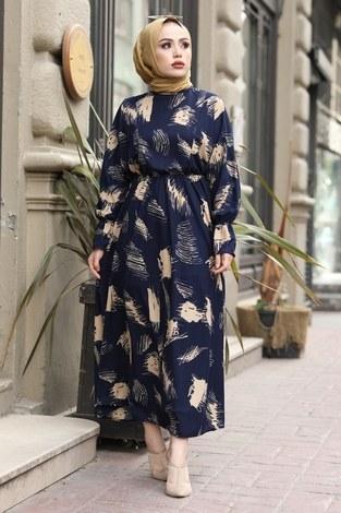 Fırça Desen Büzgülü Elbise 17695-3 Lacivert - Thumbnail
