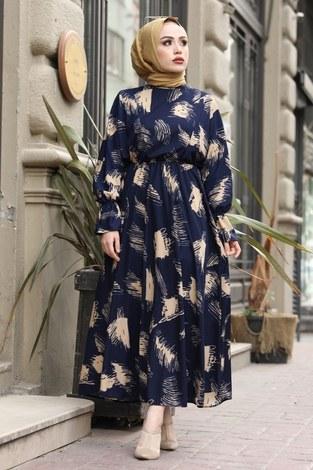 - Fırça Desen Büzgülü Elbise 17695-3 Lacivert