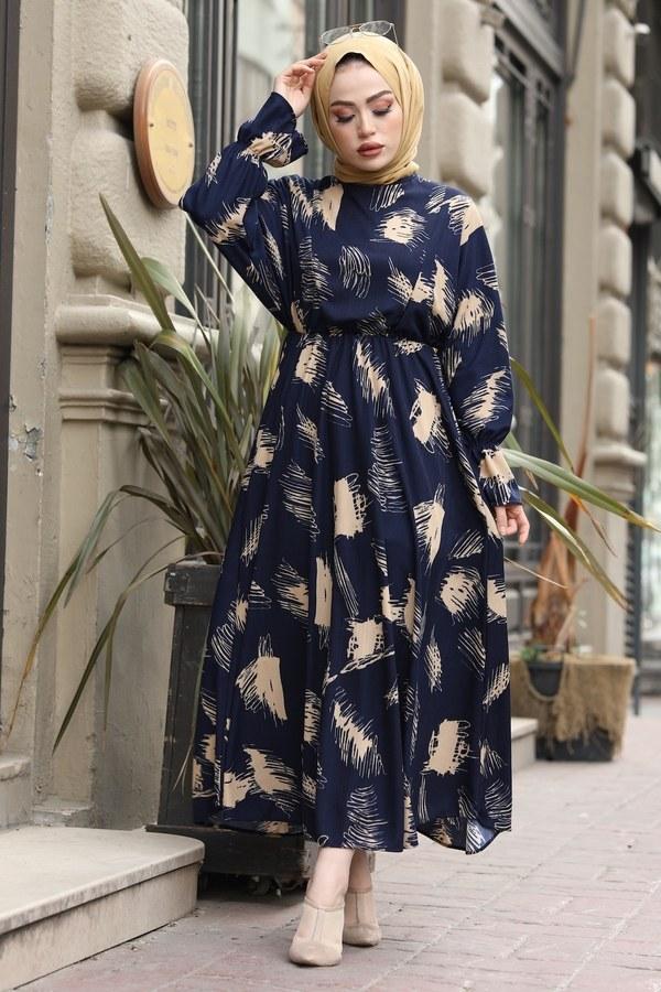 Fırça Desen Büzgülü Elbise 17695-3 Lacivert