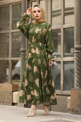 - Fırça Desen Büzgülü Elbise 17695-4 Yeşil