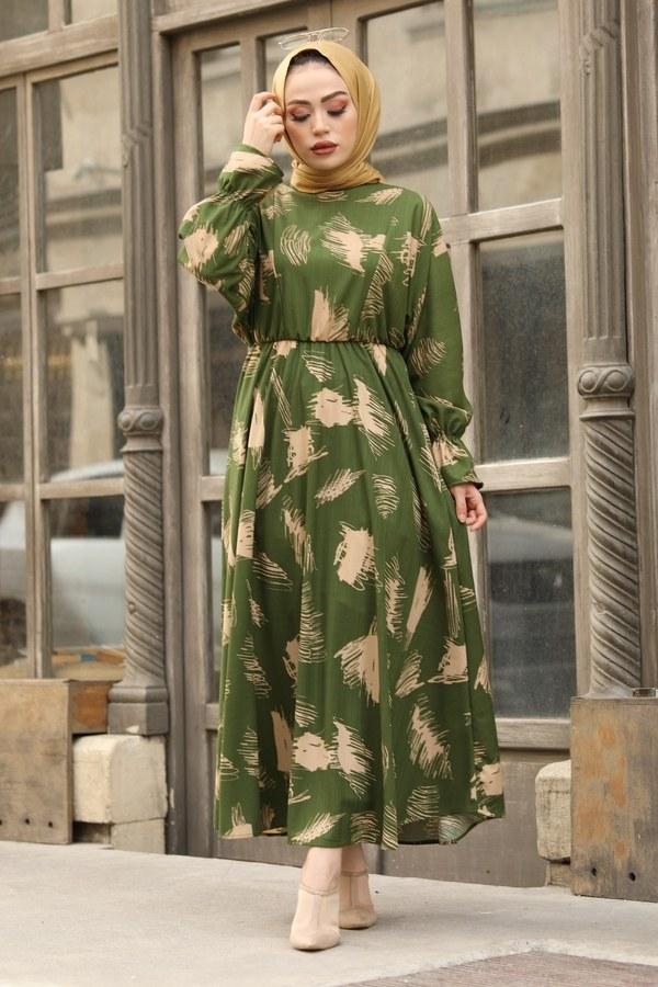 Fırça Desen Büzgülü Elbise 17695-4 Yeşil