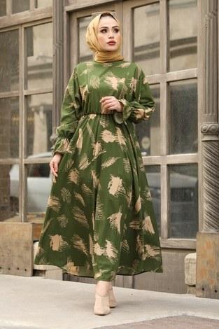 Fırça Desen Büzgülü Elbise 17695-4 Yeşil - Thumbnail