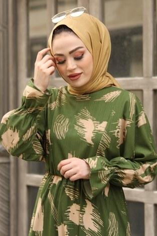 - Fırça Desen Büzgülü Elbise 17695-4 Yeşil (1)