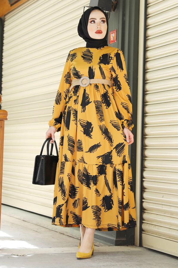 Fırça Desenli Hasır Kemerli Elbise 100MD101 Hardal