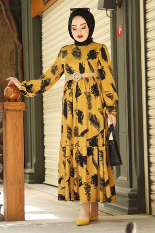 Fırça Desenli Hasır Kemerli Elbise 100MD101 Hardal - Thumbnail