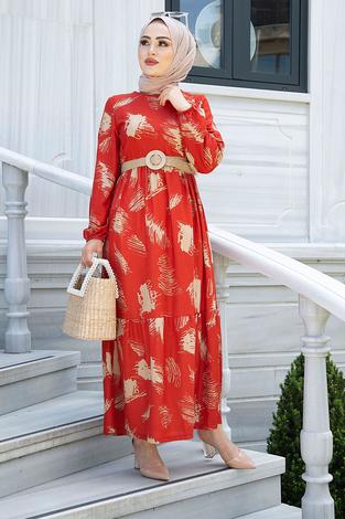 Fırça Desenli Hasır Kemerli Elbise 100MD101 Kiremit - Thumbnail