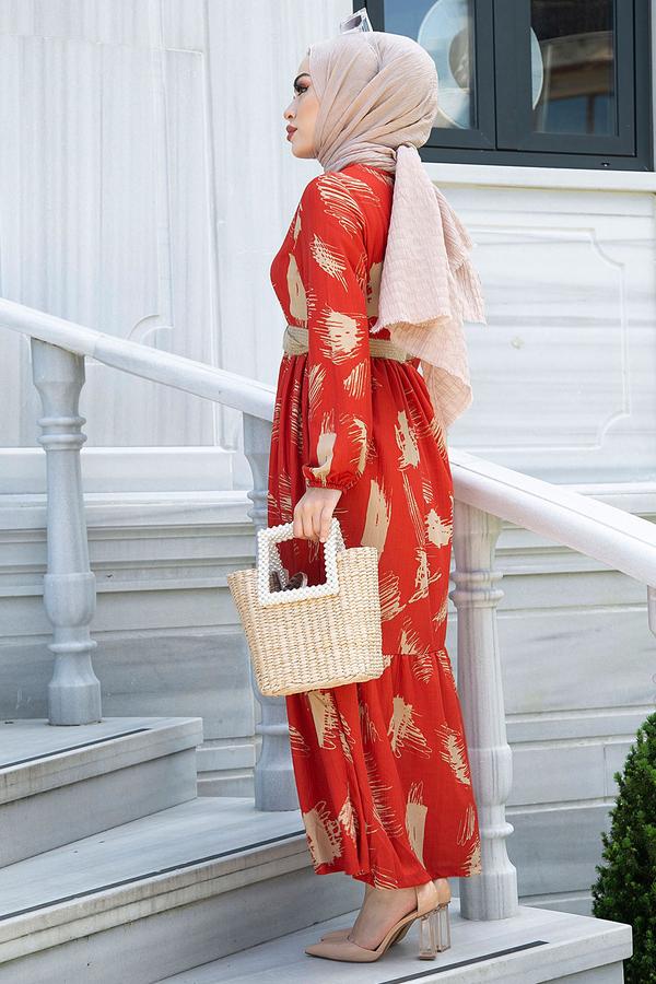 Fırça Desenli Hasır Kemerli Elbise 100MD101 Kiremit
