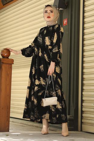 Fırça Desenli Hasır Kemerli Elbise 100MD101 Siyah - Thumbnail