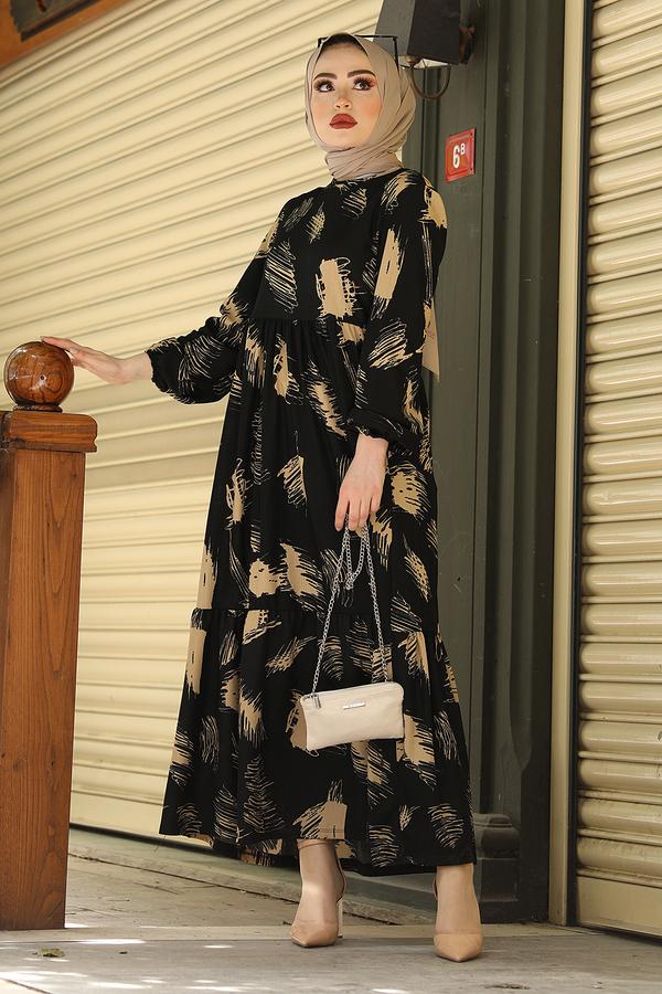 Fırça Desenli Hasır Kemerli Elbise 100MD101 Siyah