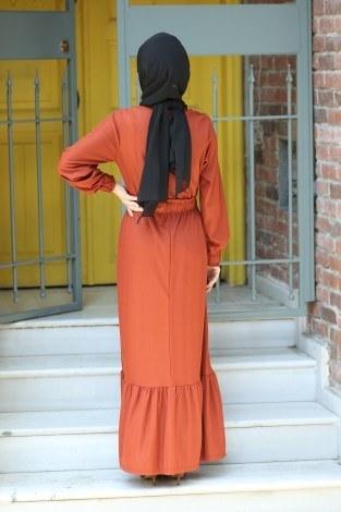 Fırfır Detaylı Elbise 4736-16 - Thumbnail