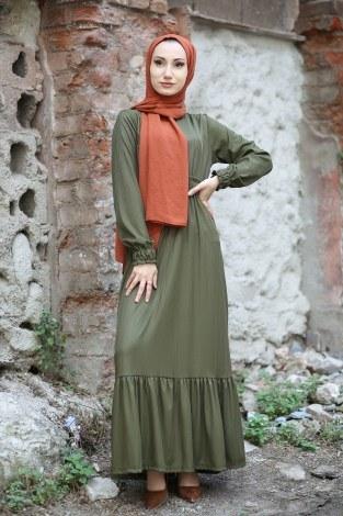 Fırfır Detaylı Elbise 4736-04 - Thumbnail