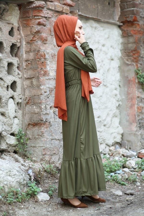 Fırfır Detaylı Elbise 4736-04