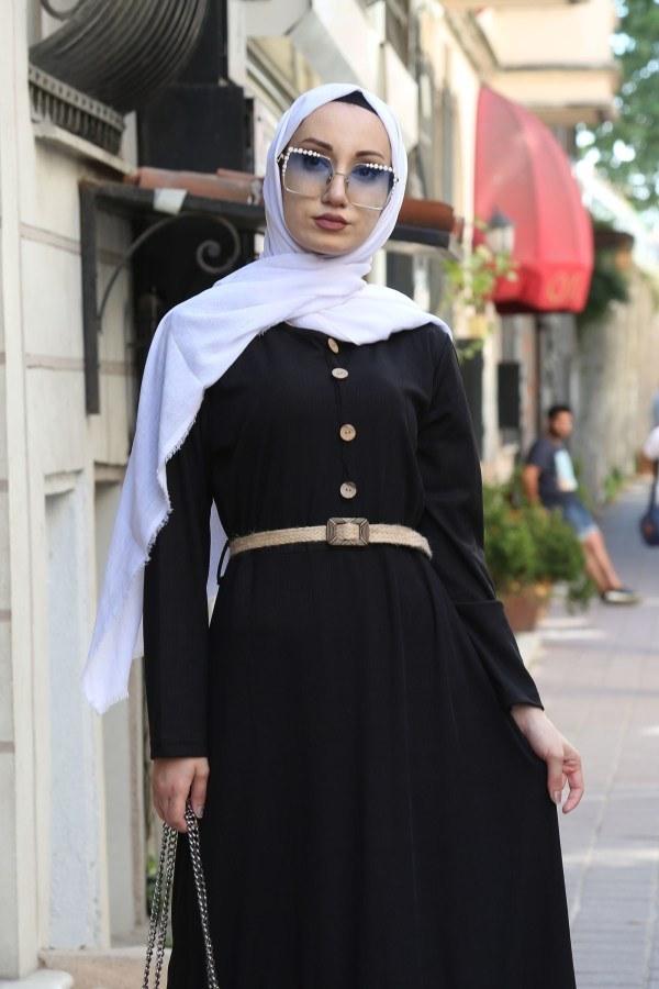 Hasır Kemerli Elbise 9981-01