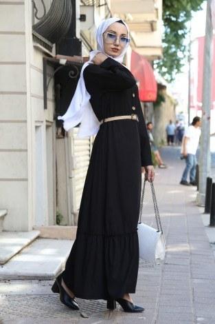 Hasır Kemerli Elbise 9981-01 - Thumbnail