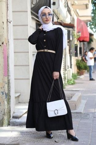 - Hasır Kemerli Elbise 9981-01