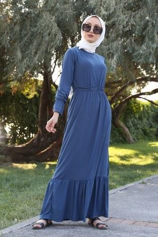 Fırfır Detaylı Elbise 4736-08 - Thumbnail