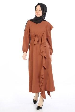 Fırfır Detaylı Elbise 5641-05 - Thumbnail