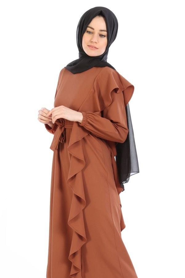 Fırfır Detaylı Elbise 5641-05