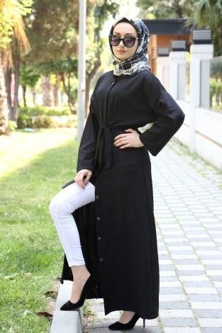 - Boydan Düğmeli Ferace Elbise 3092-01