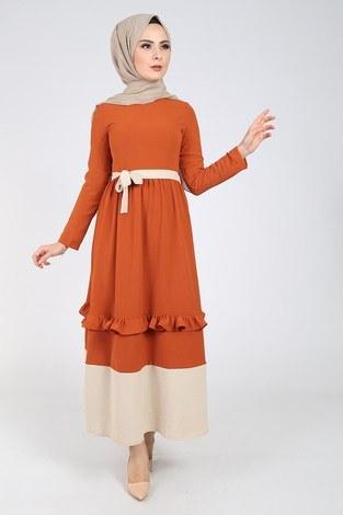 Fırfır Detaylı Elbise 5755-1 - Thumbnail